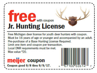 Free Junior Deer Hunting Licenses Available at Meijer Friday/Saturday