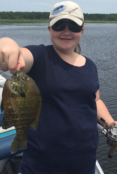 In Michigan, If you catch 25 bluegill like this one caught  by Brooke Schaap, you've limited out.  In Indiana, you can keep 100.